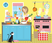 Mother cooking lunch with baby in high chair 20039009007| 写真素材・ストックフォト・画像・イラスト素材|アマナイメージズ