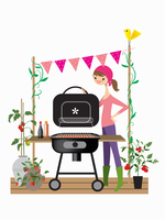 Woman setting up barbecue for party 20039009012| 写真素材・ストックフォト・画像・イラスト素材|アマナイメージズ