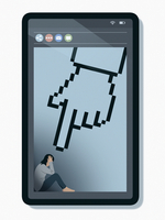 Unhappy teenager on smart phone screen with large pointing cursor finger 20039009125| 写真素材・ストックフォト・画像・イラスト素材|アマナイメージズ