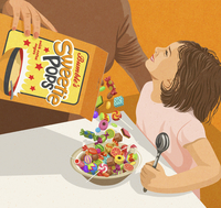 Mother pouring lots of sweets from sugary cereal packet into little girl's breakfast bowl 20039009203| 写真素材・ストックフォト・画像・イラスト素材|アマナイメージズ