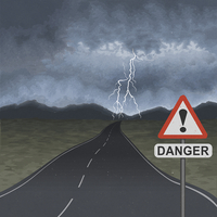 Empty road with storm ahead and danger warning sign 20039009226| 写真素材・ストックフォト・画像・イラスト素材|アマナイメージズ