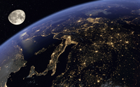 Digitally manipulated image of Europe at night from space 20039009287| 写真素材・ストックフォト・画像・イラスト素材|アマナイメージズ