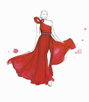 Fashion model modeling flowing red evening gown 20039009357| 写真素材・ストックフォト・画像・イラスト素材|アマナイメージズ