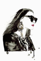 Watercolor illustration of fashion model wearing sunglasses and ornate earrings 20039009401| 写真素材・ストックフォト・画像・イラスト素材|アマナイメージズ