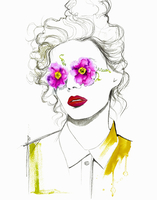 Portrait of woman with flowers covering eyes 20039009420| 写真素材・ストックフォト・画像・イラスト素材|アマナイメージズ
