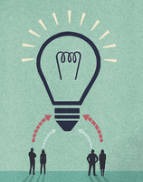 Ideas from business people forming huge light bulb 20039009429| 写真素材・ストックフォト・画像・イラスト素材|アマナイメージズ