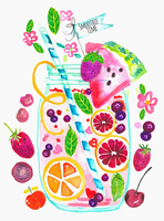 Lots of fresh fruit ingredients for smoothie in a jar with a drinking straw 20039009437| 写真素材・ストックフォト・画像・イラスト素材|アマナイメージズ