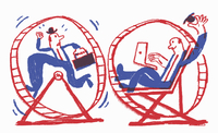 Contrast between stressed businessman running in exercise wheel and happy relaxed man using laptop computer 20039009505| 写真素材・ストックフォト・画像・イラスト素材|アマナイメージズ