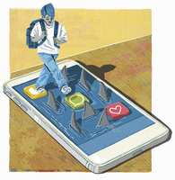 Anxious schoolboy stepping on smart phone apps surrounded by sharks 20039009520| 写真素材・ストックフォト・画像・イラスト素材|アマナイメージズ