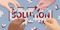 Hands cooperating to solve 'solution' jigsaw puzzle 20039009535| 写真素材・ストックフォト・画像・イラスト素材|アマナイメージズ