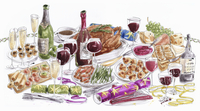 Christmas lunch table with food and wine 20039009537| 写真素材・ストックフォト・画像・イラスト素材|アマナイメージズ