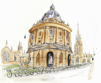 Watercolor painting of Radcliffe Camera in Oxford 20039009541| 写真素材・ストックフォト・画像・イラスト素材|アマナイメージズ