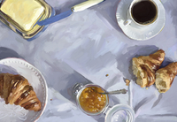 Overhead view of croissants, butter, marmalade and coffee for breakfast 20039009615| 写真素材・ストックフォト・画像・イラスト素材|アマナイメージズ
