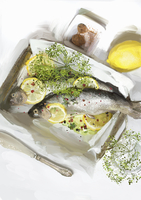 Trout in baking parchment with lemons 20039009621| 写真素材・ストックフォト・画像・イラスト素材|アマナイメージズ