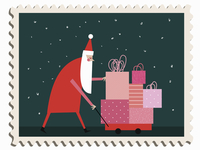 Father Christmas pushing pile of presents in toy cart 20039009653| 写真素材・ストックフォト・画像・イラスト素材|アマナイメージズ
