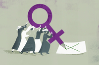 Suffragettes voting with large female gender symbol pencil 20039009850| 写真素材・ストックフォト・画像・イラスト素材|アマナイメージズ