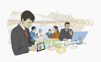 Business people connected using variety of computer technology devices 20039009865| 写真素材・ストックフォト・画像・イラスト素材|アマナイメージズ