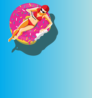 Woman reading book floating on doughnut shaped inflatable ring 20039009930| 写真素材・ストックフォト・画像・イラスト素材|アマナイメージズ