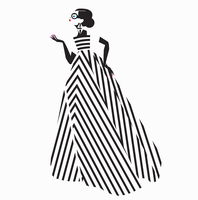 Fashion model posing in black and white striped evening gown 20039009936| 写真素材・ストックフォト・画像・イラスト素材|アマナイメージズ