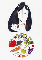 Woman eating fresh vegetables with fork from plate 20039009978| 写真素材・ストックフォト・画像・イラスト素材|アマナイメージズ