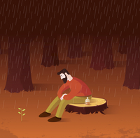 New leaves growing as sign of hope to depressed man sitting alone on tree stump in rain 20039010000| 写真素材・ストックフォト・画像・イラスト素材|アマナイメージズ