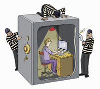 Burglars struggling to access man working on computer protected inside of safe 20039010022| 写真素材・ストックフォト・画像・イラスト素材|アマナイメージズ