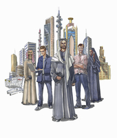 Group of business people standing in front of city skyscrapers 20039010028| 写真素材・ストックフォト・画像・イラスト素材|アマナイメージズ