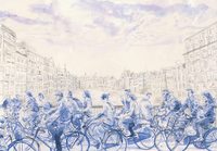 Blue watercolor painting of lots of cyclists crossing bridge in Amsterdam, the Netherlands 20039010036| 写真素材・ストックフォト・画像・イラスト素材|アマナイメージズ