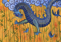 Chinese dragon with blue birds and bamboo 20039010047| 写真素材・ストックフォト・画像・イラスト素材|アマナイメージズ