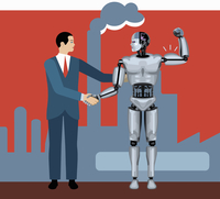 Businessman shaking hands with robot flexing muscles 20039010058| 写真素材・ストックフォト・画像・イラスト素材|アマナイメージズ