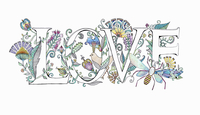 The word 'love' decorated with flowers 20039010076| 写真素材・ストックフォト・画像・イラスト素材|アマナイメージズ