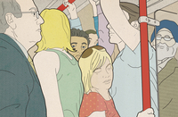 Woman squashed in overcrowded tube train 20039010119| 写真素材・ストックフォト・画像・イラスト素材|アマナイメージズ