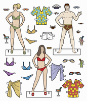 Male and female paper dolls with choice of holiday clothes 20039010124| 写真素材・ストックフォト・画像・イラスト素材|アマナイメージズ