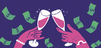 Hands of wealthy couple toasting success