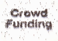Overhead view of people forming words crowd funding 20039010619| 写真素材・ストックフォト・画像・イラスト素材|アマナイメージズ