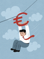 Terrified businessman holding on to euro sign zip wire 20039010891| 写真素材・ストックフォト・画像・イラスト素材|アマナイメージズ