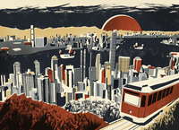 Illustration of Victoria Harbour and skyscrapers in Hong Kong 20039010954| 写真素材・ストックフォト・画像・イラスト素材|アマナイメージズ