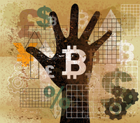 Hand choosing bitcoin from foreign currency symbols 20039011057| 写真素材・ストックフォト・画像・イラスト素材|アマナイメージズ