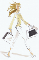 Beautiful woman striding with shopping bags 20039011065| 写真素材・ストックフォト・画像・イラスト素材|アマナイメージズ