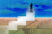 Businessman standing on top of diagram stairs looking up to sky 20039011242| 写真素材・ストックフォト・画像・イラスト素材|アマナイメージズ