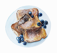 Watercolour painting of french toast and blueberries 20039011365| 写真素材・ストックフォト・画像・イラスト素材|アマナイメージズ
