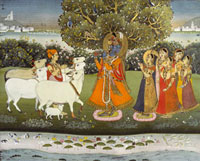 Krishna playing the flute to the gopis. Jaipur, India, 1840