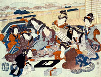 An actor seated surrounded by fashionable women, by Utagawa 20048002677| 写真素材・ストックフォト・画像・イラスト素材|アマナイメージズ