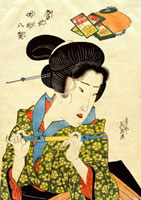 A Geisha with a Pipe, by Keisai Eisen. Japan, 19th century 20048002685| 写真素材・ストックフォト・画像・イラスト素材|アマナイメージズ