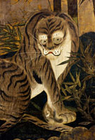 Tiger, depicted on a painted screen. Japan, 17th century 20048002757| 写真素材・ストックフォト・画像・イラスト素材|アマナイメージズ