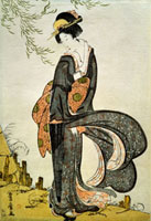A Beauty Bothered by the Wind under a Willow, by Utagawa To 20048003032| 写真素材・ストックフォト・画像・イラスト素材|アマナイメージズ