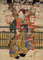 A Younger Courtesan Under Cherry Blossoms at Night in Yoshi 20048004491| 写真素材・ストックフォト・画像・イラスト素材|アマナイメージズ