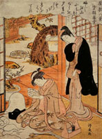 A Young Girl Reading a Letter, by Torii Kiyonaga. Japan, 19 20048004518| 写真素材・ストックフォト・画像・イラスト素材|アマナイメージズ
