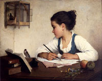 A Girl Writing, by Henriette Browne (1829 - 1901), pseudony 20048004674| 写真素材・ストックフォト・画像・イラスト素材|アマナイメージズ