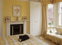 Cat sitting on bed with checked cover in yellow bedroom 20052001462| 写真素材・ストックフォト・画像・イラスト素材|アマナイメージズ